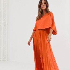 ASOS Pleated One Shoulder Crop Top Maxi Dress